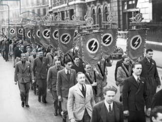 British Union of Fascists march, c.1932-39 (b/w photo)